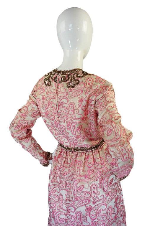 1950s Pink Brocade Ceil Chapman Gown 5