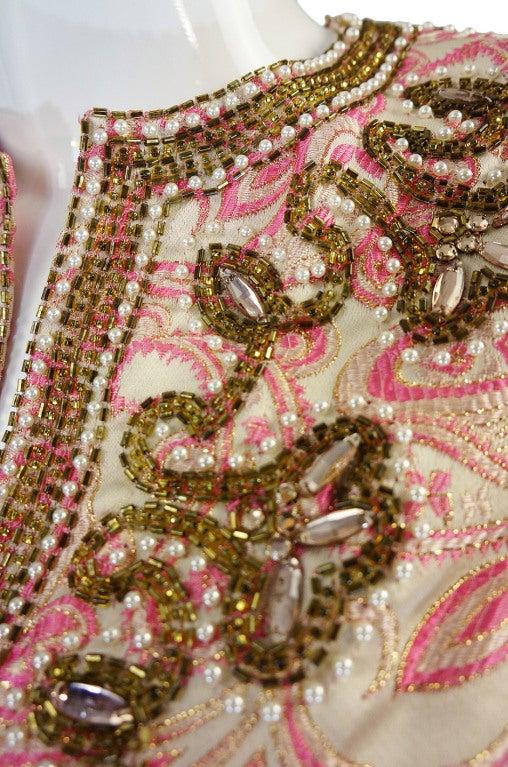 1950s Pink Brocade Ceil Chapman Gown 6