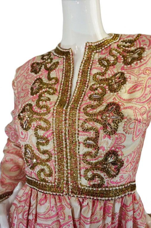 1950s Pink Brocade Ceil Chapman Gown 7
