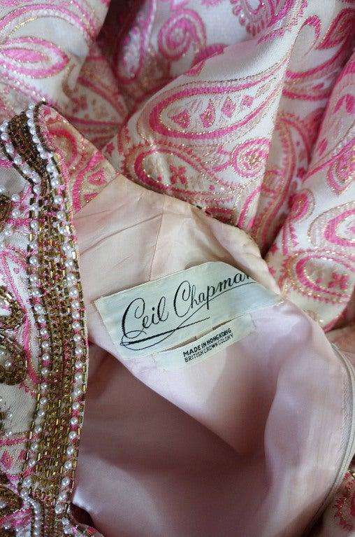 1950s Pink Brocade Ceil Chapman Gown 9