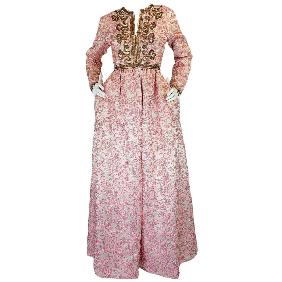 1950s Pink Brocade Ceil Chapman Gown 1