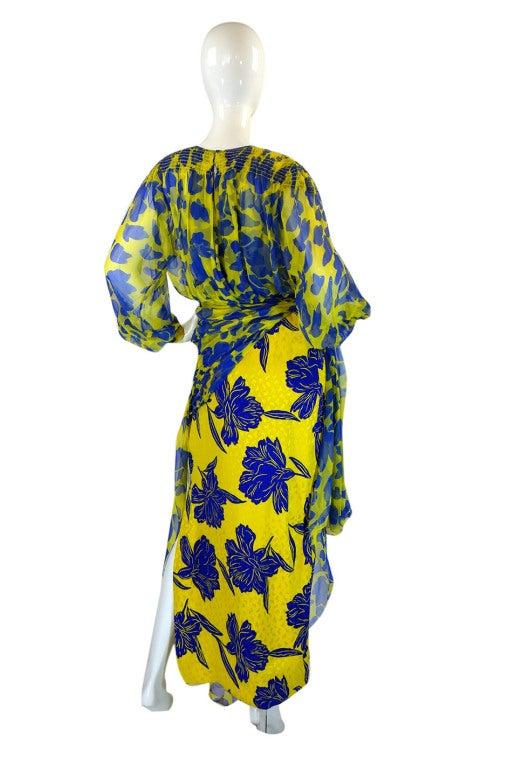 1970s James Galanos Couture Blue & Yellow Print Silk Dress 2