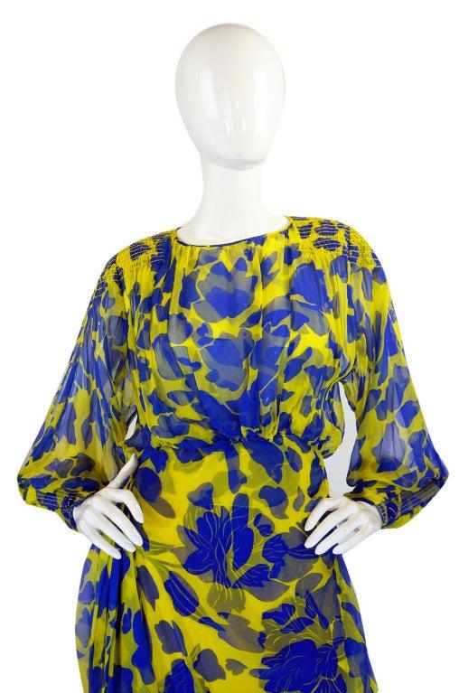 1970s James Galanos Couture Blue & Yellow Print Silk Dress 3