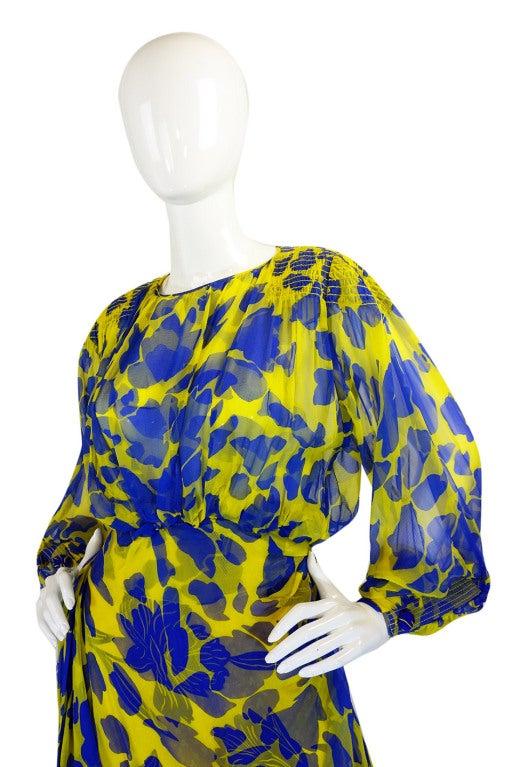 1970s James Galanos Couture Blue & Yellow Print Silk Dress 4