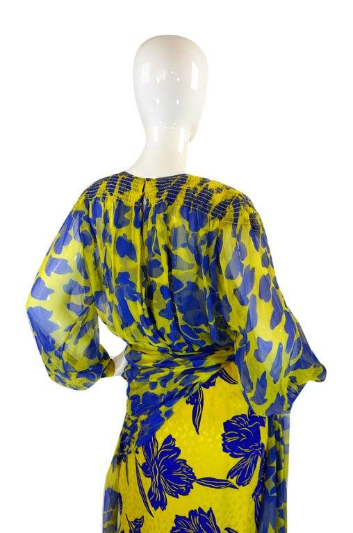 1970s James Galanos Couture Blue & Yellow Print Silk Dress 5