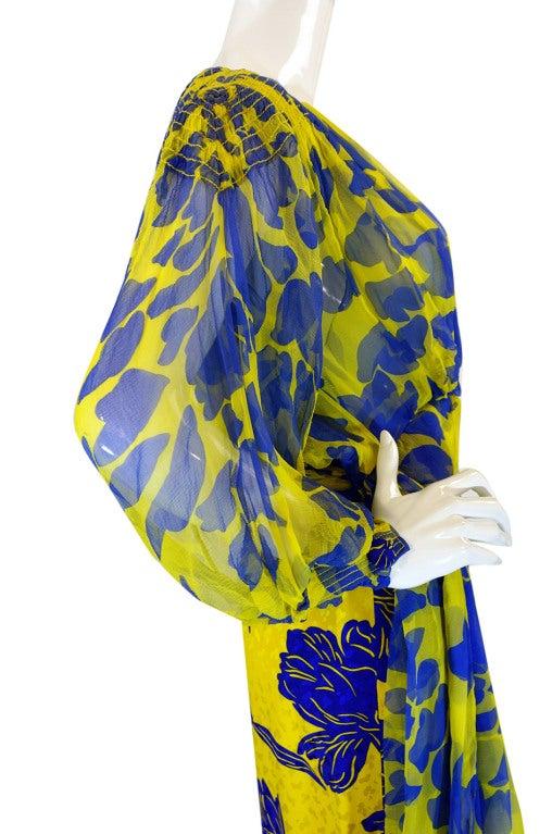 1970s James Galanos Couture Blue & Yellow Print Silk Dress 6