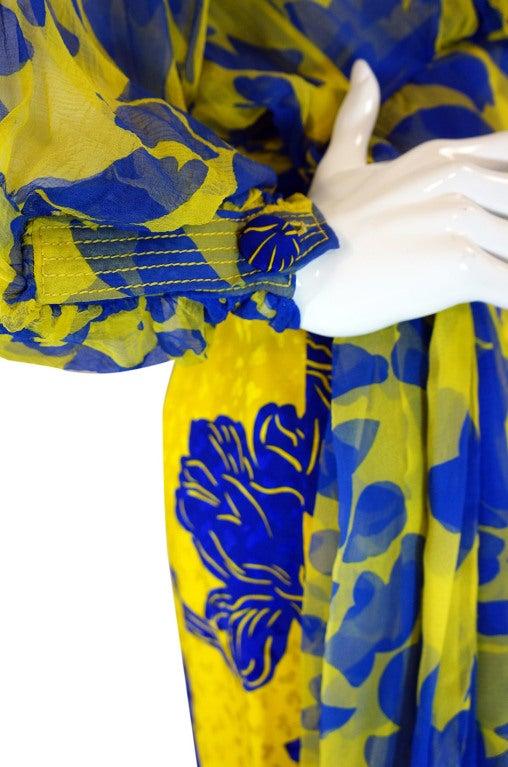 1970s James Galanos Couture Blue & Yellow Print Silk Dress 7