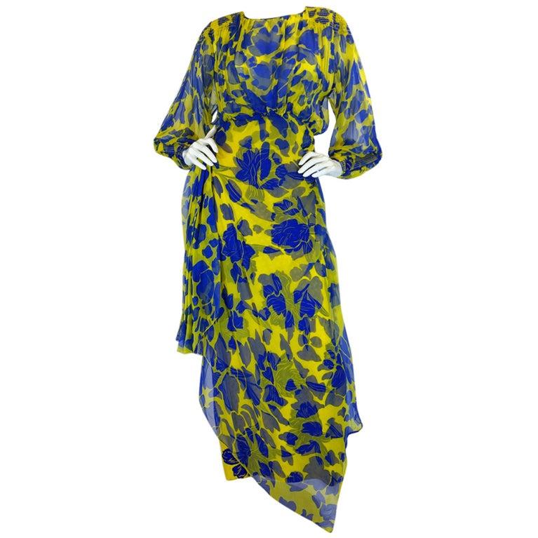 1970s James Galanos Couture Blue & Yellow Print Silk Dress 1
