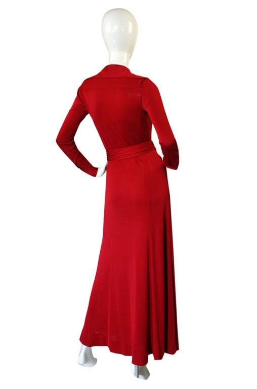 1972 Custom Red Jersey Halston Dress At 1stdibs