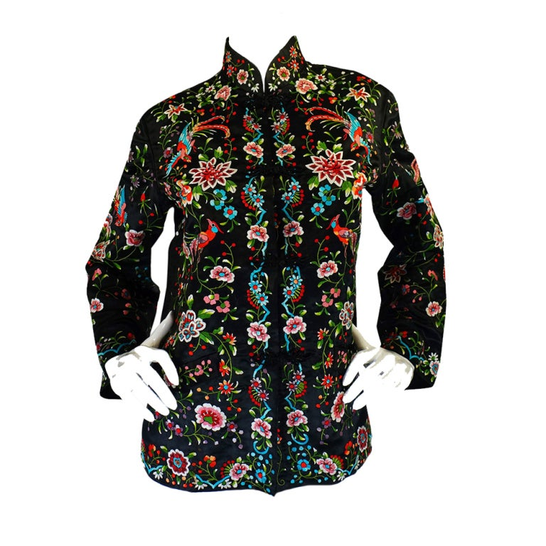 S embroidered silk asian jacket at stdibs