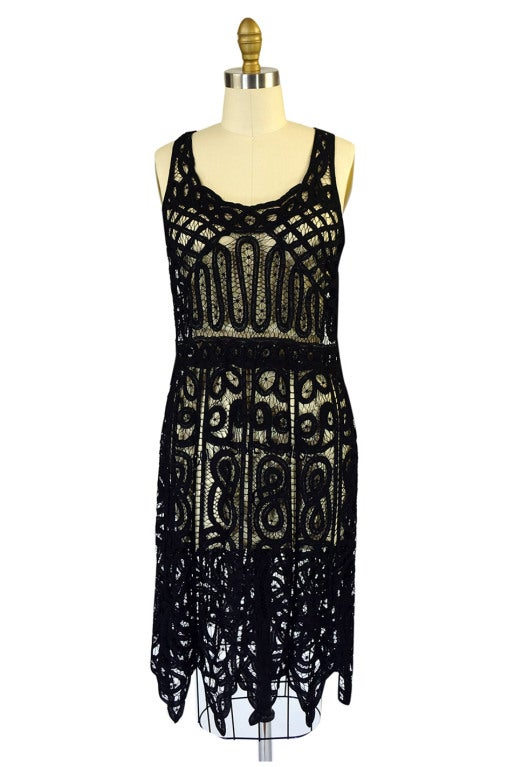 1920s Tape Lace & Beaded Flapper Dress 2