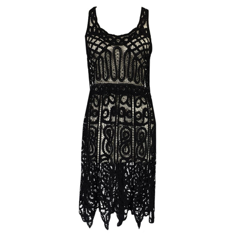 1920s Tape Lace & Beaded Flapper Dress 1
