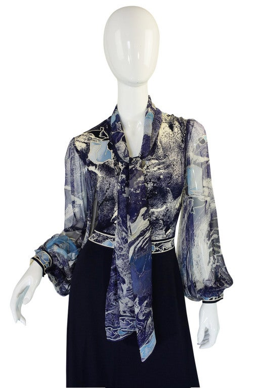 1970s Leonard Chiffon Print Maxi Dress 3