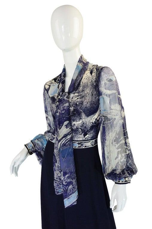 1970s Leonard Chiffon Print Maxi Dress 4