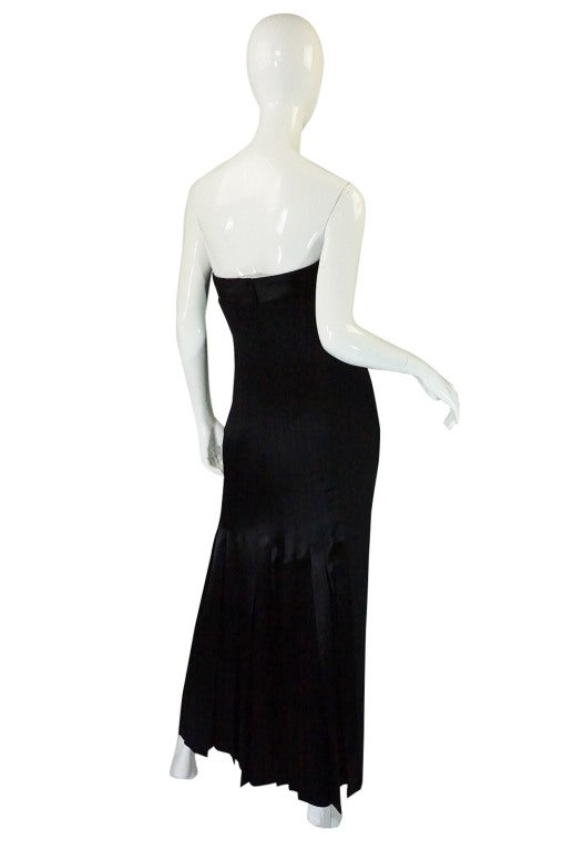 1980s Valentino Pleated Back Silk Gown 2
