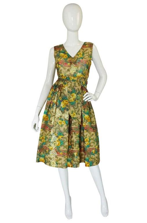 Rare 1950s Jacques Tiffeau Silk Dress 2