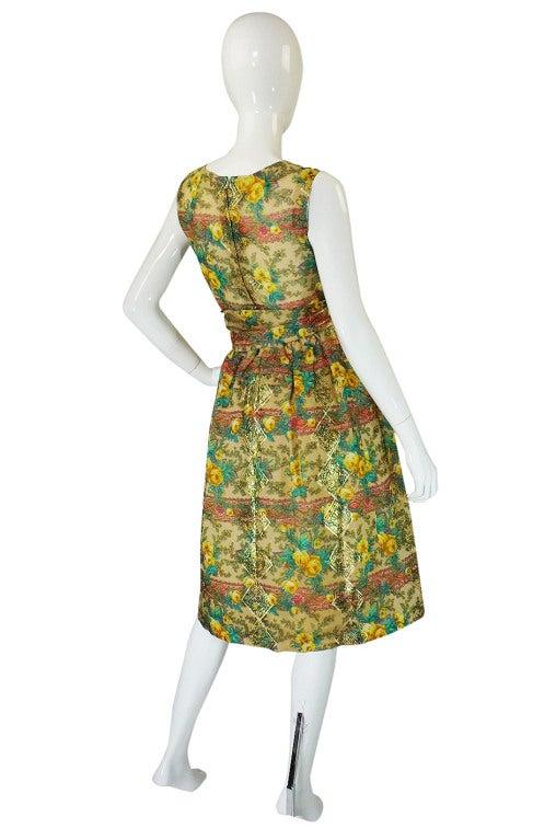 Rare 1950s Jacques Tiffeau Silk Dress 3