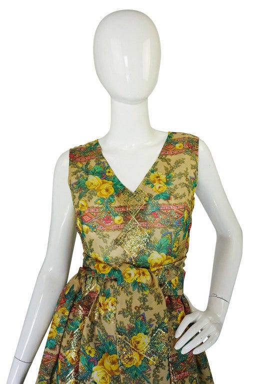 Rare 1950s Jacques Tiffeau Silk Dress 4