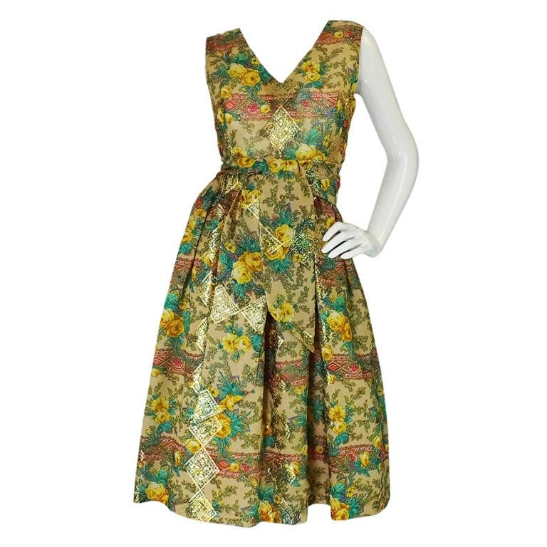 Rare 1950s Jacques Tiffeau Silk Dress 1