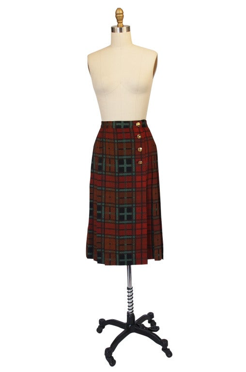 1970s Yves Saint Laurent Plaid Skirt 2
