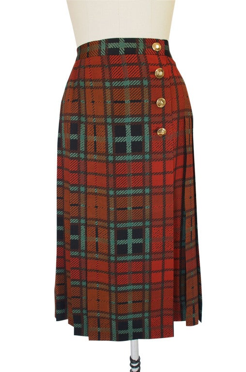 1970s Yves Saint Laurent Plaid Skirt 4