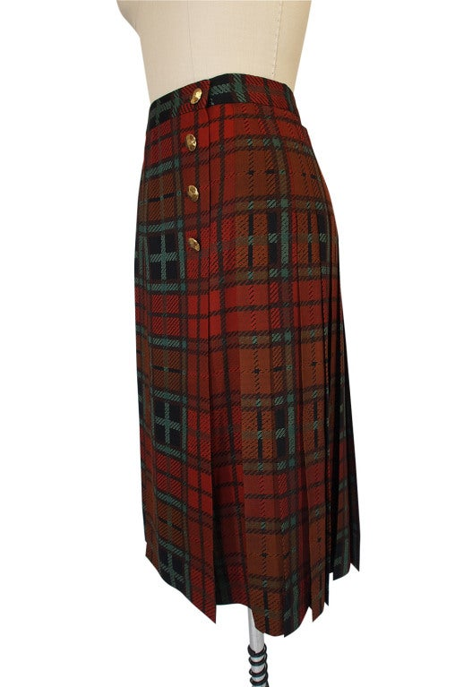 1970s Yves Saint Laurent Plaid Skirt 5