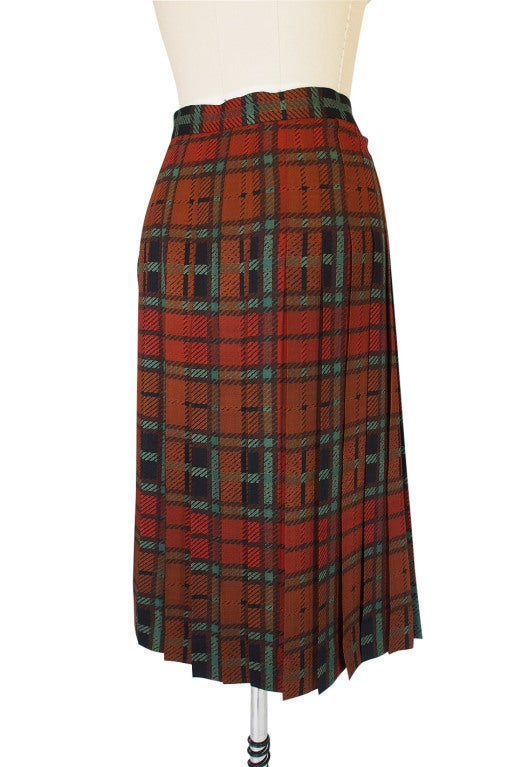1970s Yves Saint Laurent Plaid Skirt 6