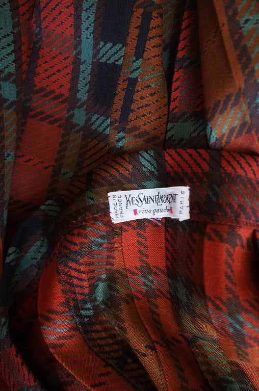 1970s Yves Saint Laurent Plaid Skirt 7