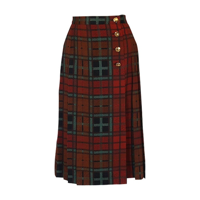 1970s Yves Saint Laurent Plaid Skirt 1
