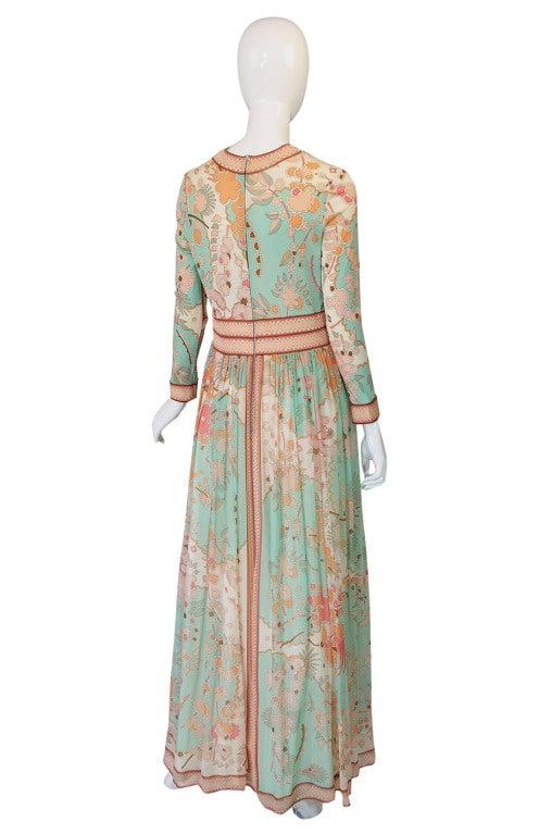 1970s Soft Pastel Bessi Silk Jersey & Chiffon Maxi Dress image 2