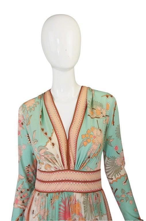 1970s Soft Pastel Bessi Silk Jersey & Chiffon Maxi Dress image 3
