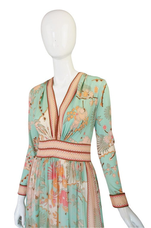 1970s Soft Pastel Bessi Silk Jersey & Chiffon Maxi Dress image 4