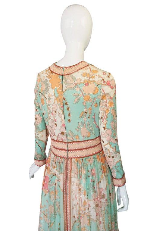 1970s Soft Pastel Bessi Silk Jersey & Chiffon Maxi Dress image 5