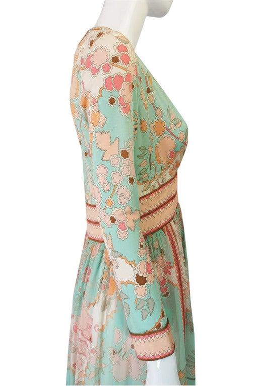 1970s Soft Pastel Bessi Silk Jersey & Chiffon Maxi Dress image 6