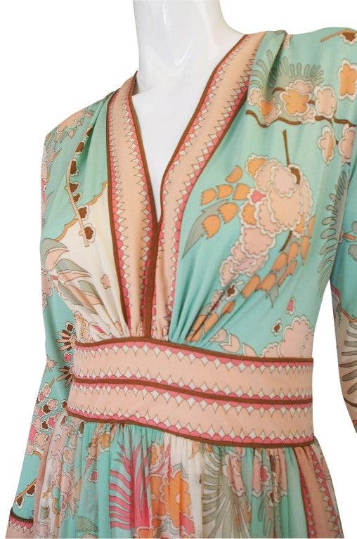 1970s Soft Pastel Bessi Silk Jersey & Chiffon Maxi Dress image 7