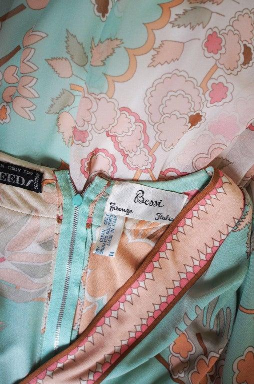 1970s Soft Pastel Bessi Silk Jersey & Chiffon Maxi Dress image 8