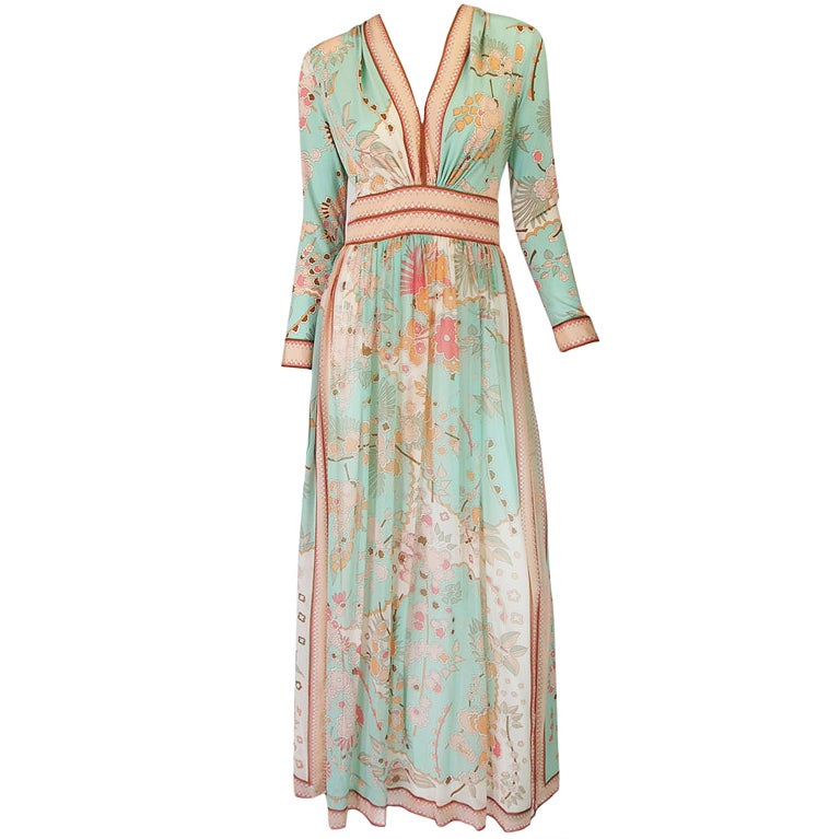 1970s Soft Pastel Bessi Silk Jersey & Chiffon Maxi Dress