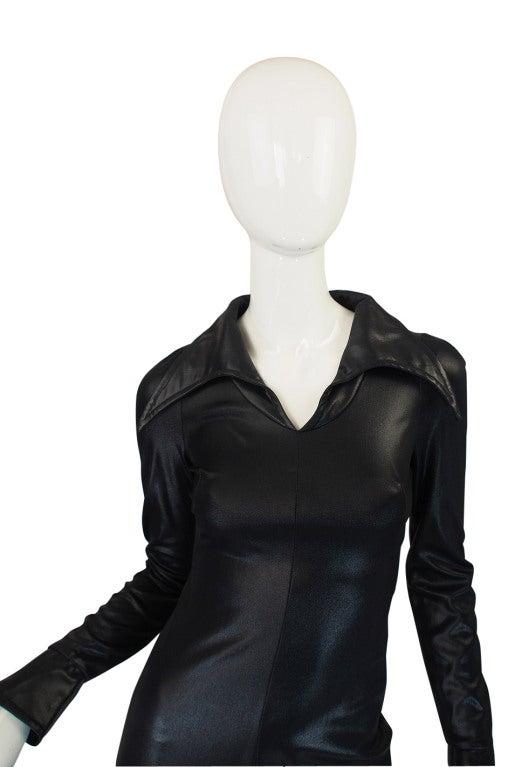 1970s Rare Lee Bender Wet Look Maxi Dress At 1stdibs