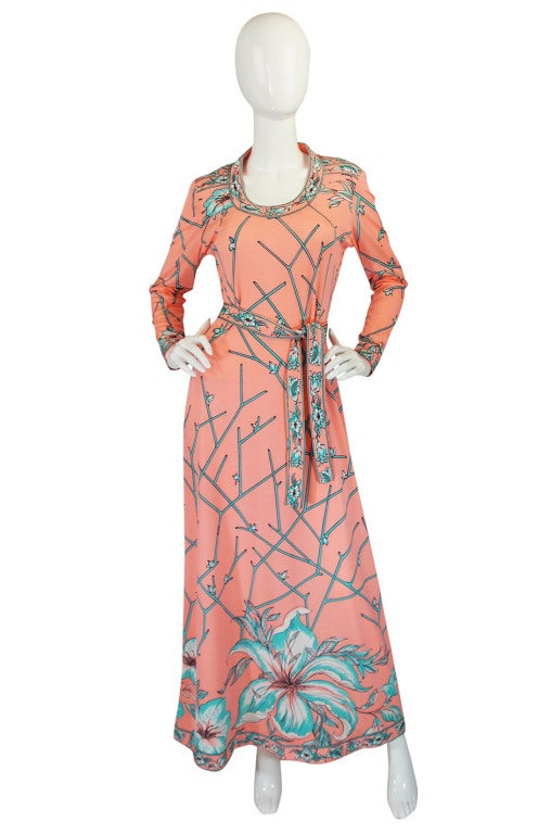 1970s coral and turquoise maurice jersey dress at 1stdibs for Jewelry to wear with coral dress