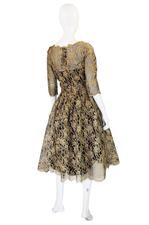 Brown Jacques Heim Lace Cocktail Dress, 1950s  For Sale