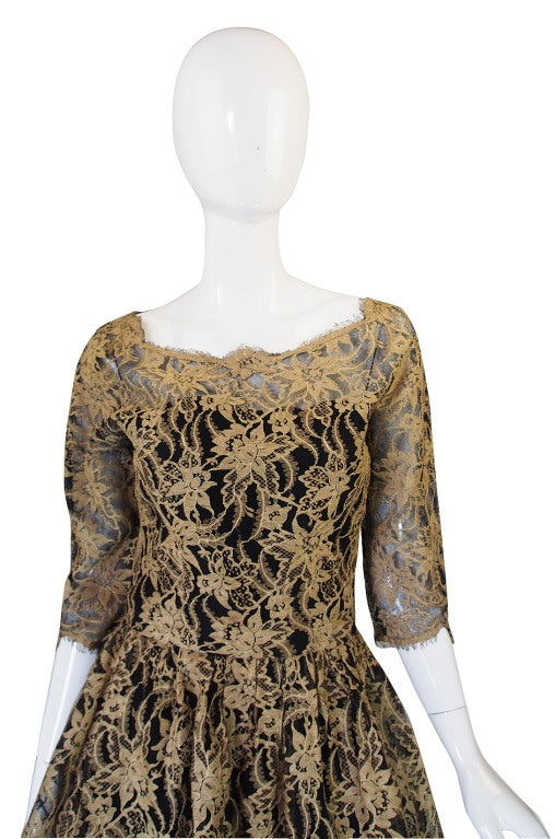 Jacques Heim Lace Cocktail Dress, 1950s  In Excellent Condition For Sale In Toronto, CA