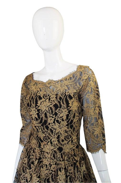 Rare 1950s Jacques Heim Lace Cocktail Dress 5