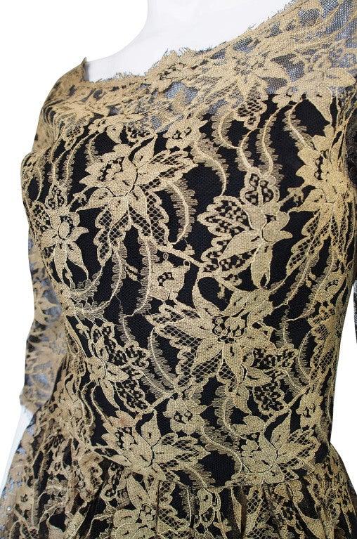 Rare 1950s Jacques Heim Lace Cocktail Dress 8