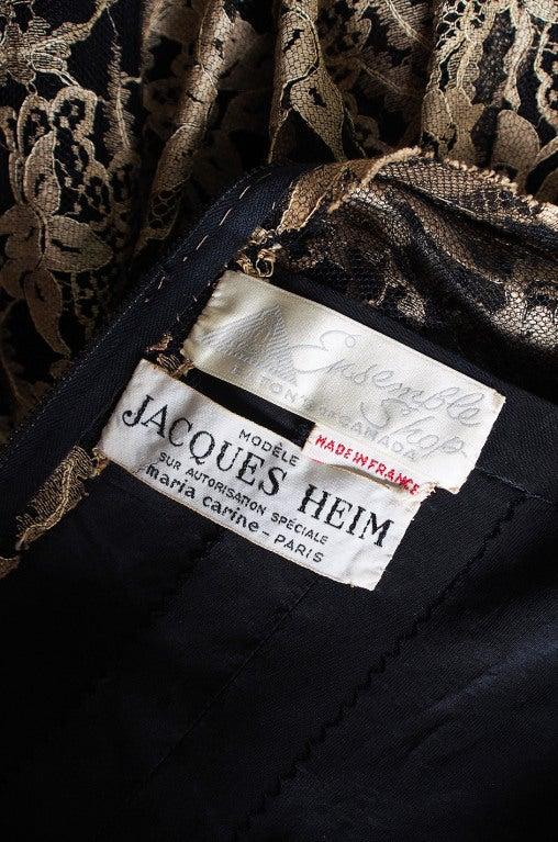 Rare 1950s Jacques Heim Lace Cocktail Dress 9