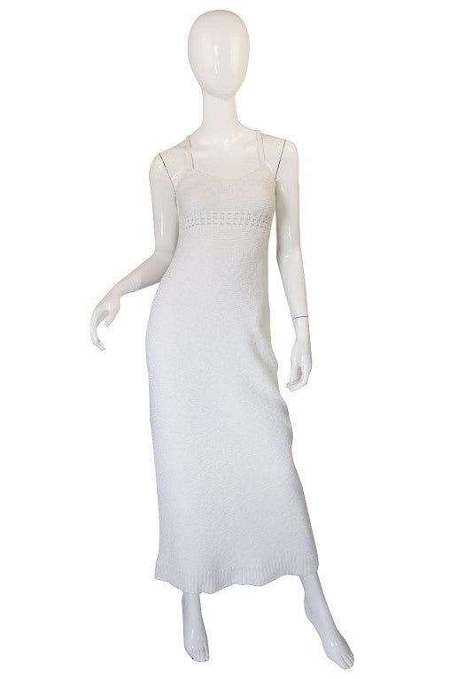 1978 White Knit Courreges Maxi Dress 2