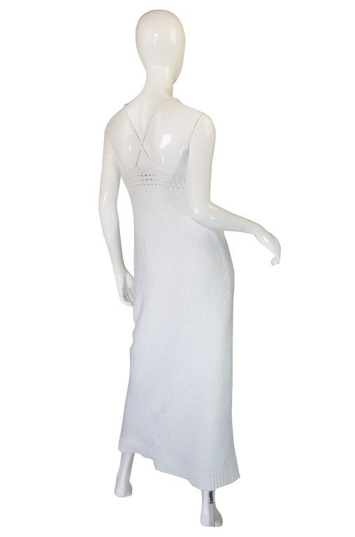 1978 White Knit Courreges Maxi Dress 3