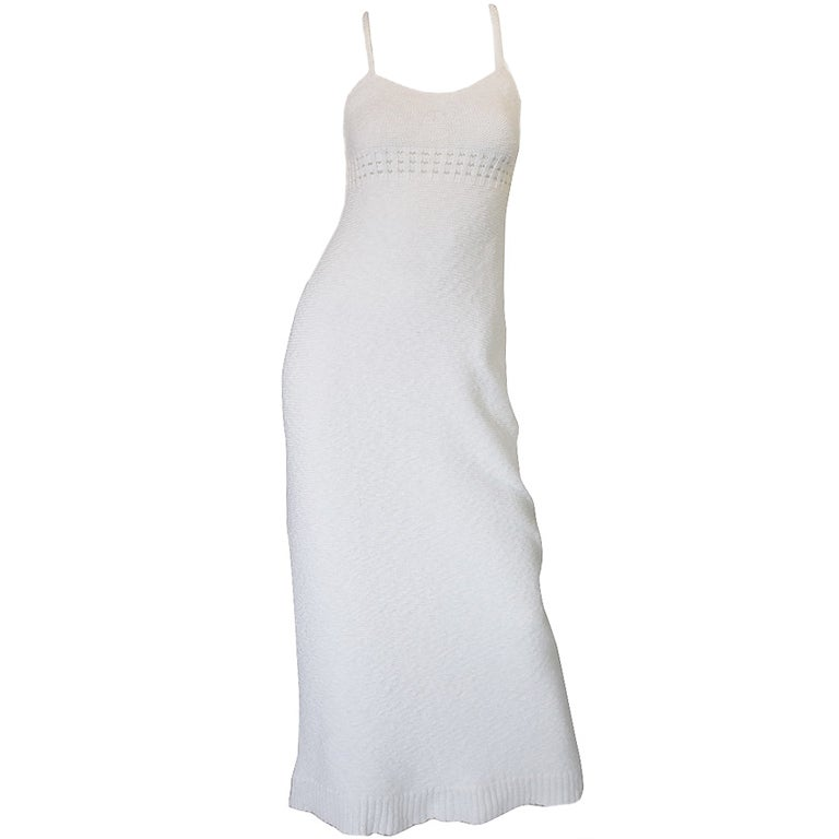 1978 White Knit Courreges Maxi Dress 1