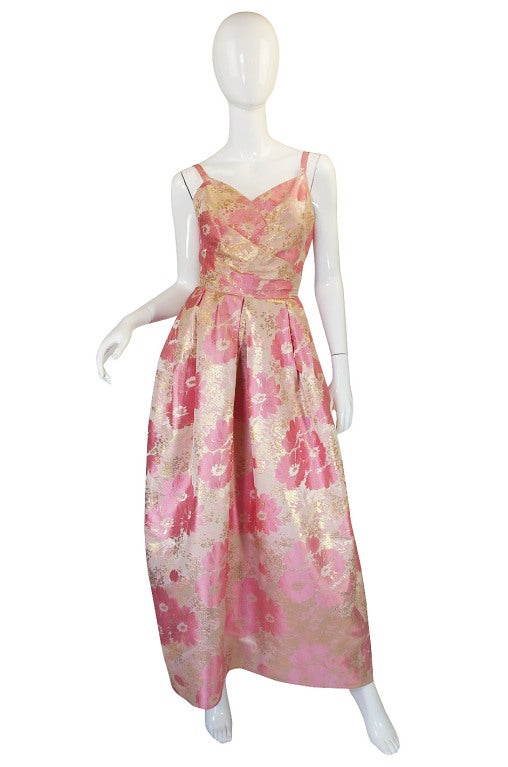 1950s Pink Silk I . Magnin Brocade Gown 2