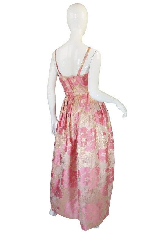1950s Pink Silk I . Magnin Brocade Gown 3