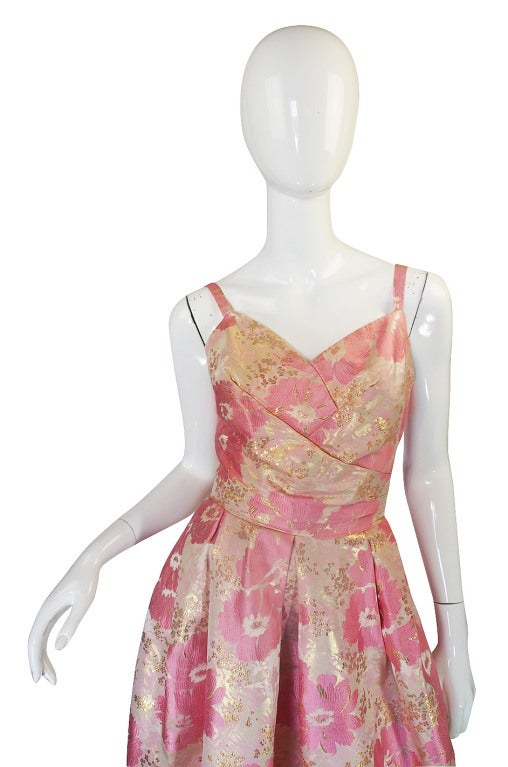 1950s Pink Silk I . Magnin Brocade Gown 4